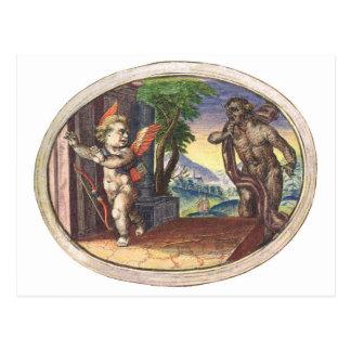 Cupid fleeing from a demon; Emblemala amatoria; Postcard