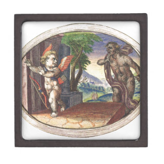 Cupid fleeing from a demon; Emblemala amatoria; Premium Jewelry Boxes