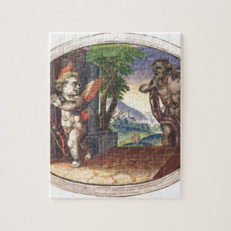 Cupid fleeing from a demon; Emblemala amatoria; Puzzle