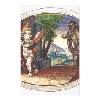 Cupid fleeing from a demon; Emblemala amatoria; Stationery