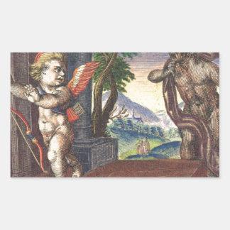 Cupid fleeing from a demon; Emblemala amatoria; Rectangular Sticker