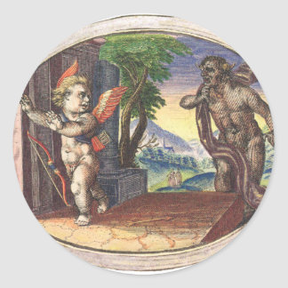 Cupid fleeing from a demon; Emblemala amatoria; Classic Round Sticker