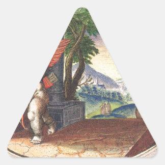 Cupid fleeing from a demon; Emblemala amatoria; Triangle Sticker