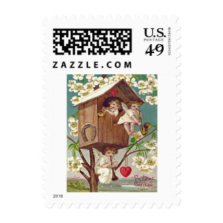 Cupid Flowers Birdhouse Heart Horseshoe Postage