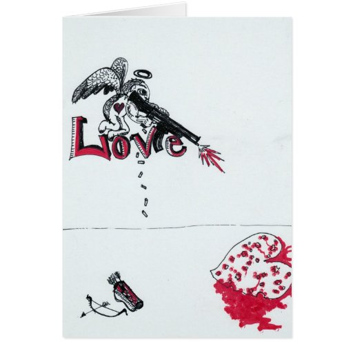 Cupid Gone Honey Badger Greeting Card