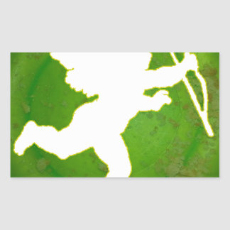 CUPID GREEN BACKGROUND PRODUCTS RECTANGULAR STICKER