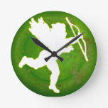 CUPID GREEN BACKGROUND PRODUCTS WALL CLOCK
