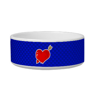 Cupid Heart & Arrow; Blue Cat Water Bowl