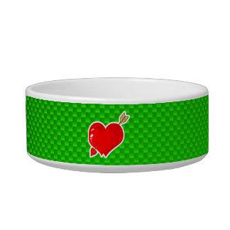 Cupid Heart & Arrow; Green Pet Bowl