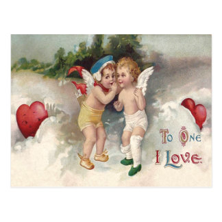 Cupid Heart Snow Cherub Angel Postcard
