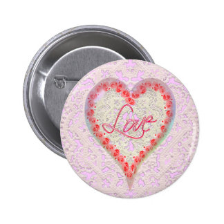 CUPID HEARTS ROSES & LACE by SHARON SHARPE Button