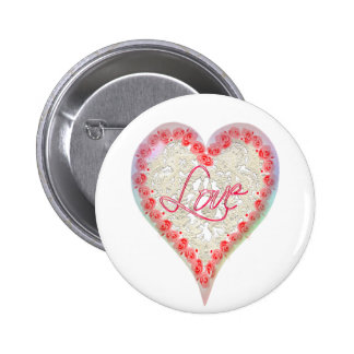 CUPID HEARTS ROSES & LACE by SHARON SHARPE Pinback Button