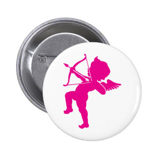 Cupid - Hot Pink Cupid's Bow and Arrow of Love Pinback Button
