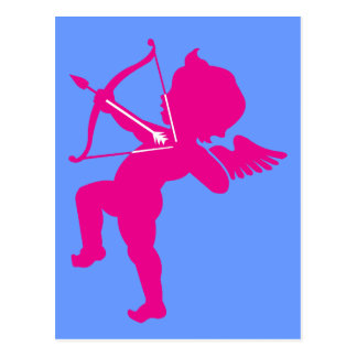 Cupid - Hot Pink Cupid's Bow and Arrow of Love Postcard