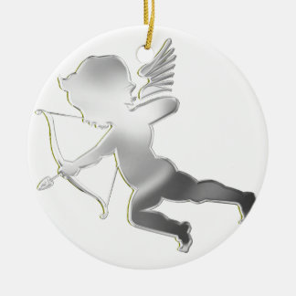 Cupid in silver Double-Sided ceramic round christmas ornament