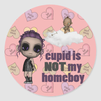 cupid is not my homeboy punk girl classic round sticker