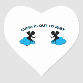 Cupid is Out to Play Heart Sticker