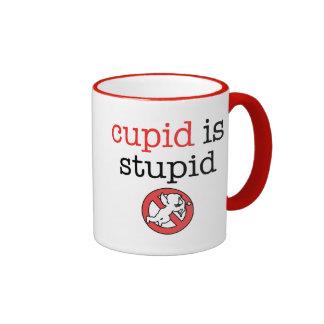 Cupid Is Stupid Anti-Valentine's Day Ringer Coffee Mug