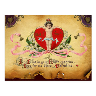 CUPID KING OF HEARTS ,RED WAX SEAL Valentine's Day Postcard