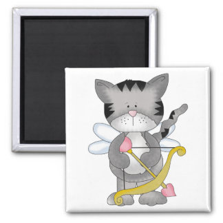 cupid kitty sweet valentine love 2 inch square magnet