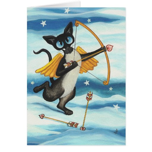 Cupid Kitty Valentine Siamese - You're Mine Card