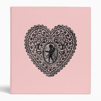 CUPID LACE HEART  ,black and pink Binders