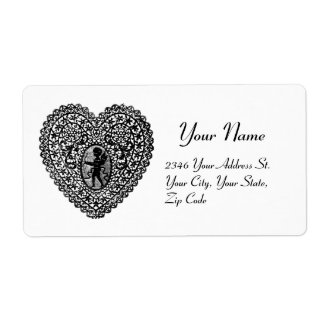 CUPID LACE HEART, Black and White Shipping Label