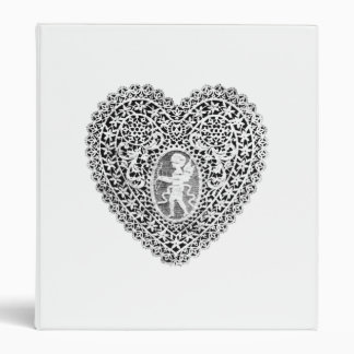 CUPID LACE HEART  ,black and  white ,pink 3 Ring Binder