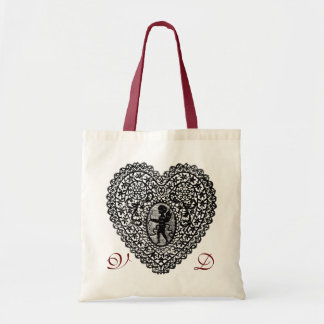 CUPID LACE HEART BLACK AND WHITE PINK RED MONOGRAM TOTE BAG