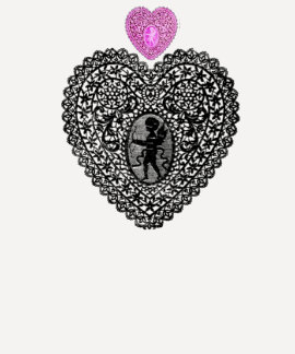 CUPID LACE HEART, Black and White Pink Tshirt