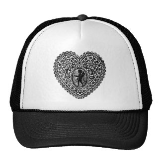 CUPID LACE HEART, Black and White Trucker Hat