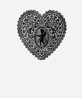 CUPID LACE HEART, Black and White Tshirts