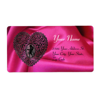 CUPID LACE HEART,FUCHSIA SILK CLOTH pink black Shipping Label