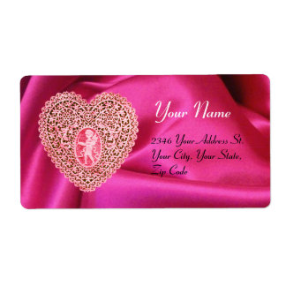 CUPID LACE HEART,FUCHSIA SILK CLOTH pink red Shipping Label