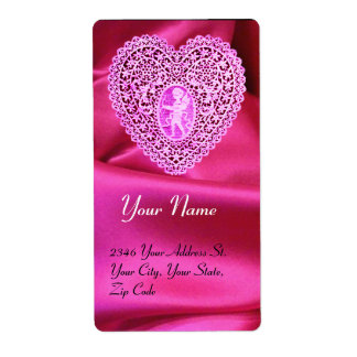 CUPID LACE HEART,FUCHSIA SILK CLOTH pink violet Shipping Label