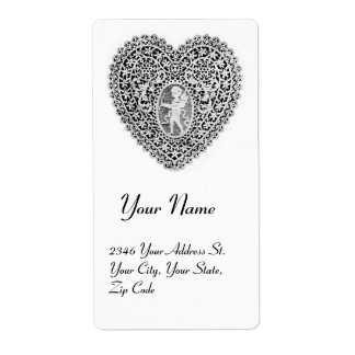 CUPID LACE HEART SHIPPING LABEL