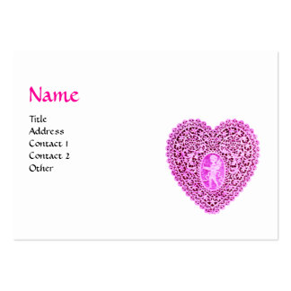 CUPID LACE HEART MONOGRAM ,pink, fuchsia,black Large Business Cards (Pack Of 100)