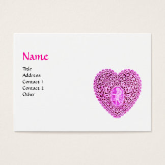 CUPID LACE HEART MONOGRAM ,pink, fuchsia,black Business Card