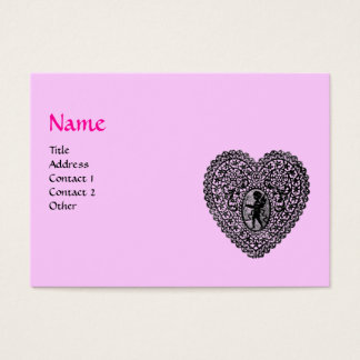 CUPID LACE HEART MONOGRAM ,pink, fuchsia Business Card