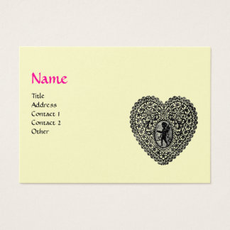 CUPID LACE HEART MONOGRAM ,pink, fuchsia gold Business Card