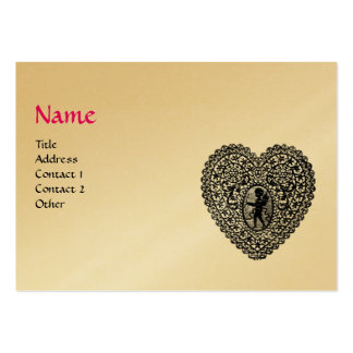 CUPID LACE HEART MONOGRAM ,pink, fuchsia gold Large Business Card