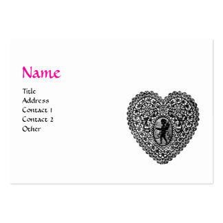 CUPID LACE HEART MONOGRAM ,pink, fuchsia Large Business Cards (Pack Of 100)
