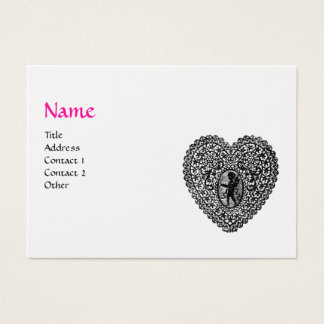 CUPID LACE HEART MONOGRAM Pink,Fuchsia White Pearl Business Card