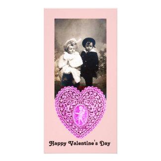 CUPID LACE HEART  , pink Custom Photo Card
