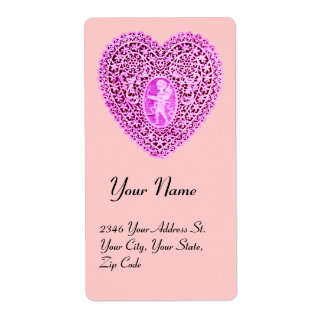 CUPID LACE HEART,pink purple Shipping Label