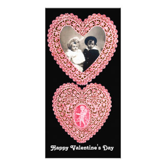 CUPID LACE HEART  , pink red  black Card