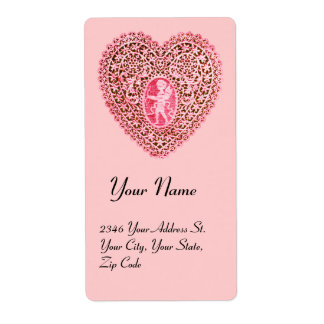 CUPID LACE HEART,pink red Shipping Label