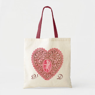 CUPID LACE HEART PINK RED MONOGRAM TOTE BAG