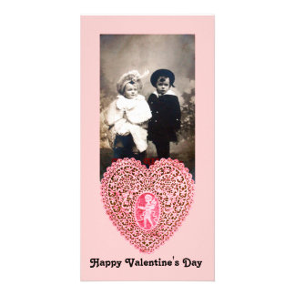 CUPID LACE HEART  , pink red Photo Card