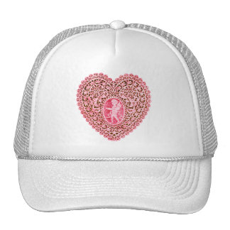 CUPID LACE HEART , Pink Red Trucker Hat